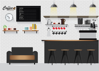 Modern Flat Design Coffee shop.