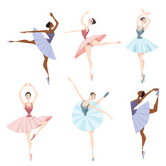 Set of vector illustrations of ballet dancers.