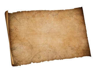 old map isolated with clipping path included
