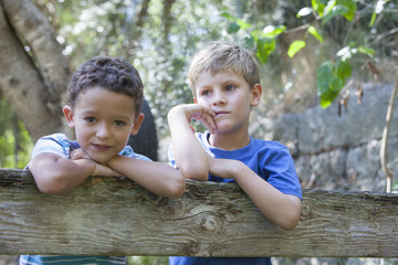 Portrait of two boys leaning on garden fence
