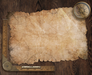 pirates treasure map on old wooden desk 3d illustration
