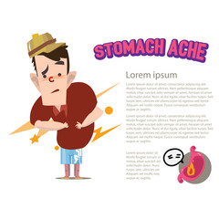 stomach ache character - vector