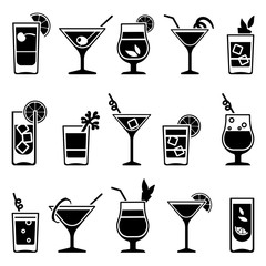 Obraz Cocktails and drinks vector black icons. Drink cocktail alcohol and cocktail with straw and fruit illustration - fototapety do salonu