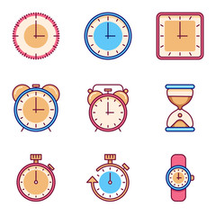Alarm clock, timer, watch flat vector icons. Tine clock object set and watch chronometer and clock for time illustration