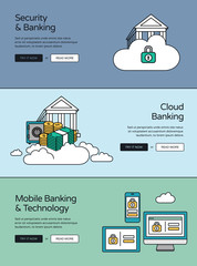Online Banking Website Banners Collection. Security, Cloud And Mobile  Devices Usage In Finance And