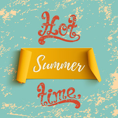 Summer banner, on blue grunge background.