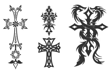 crosses crucifix. religious design elements