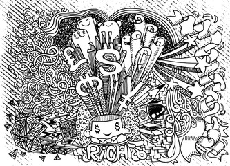 Happy young businessman,Crazy doodle Money,doodle drawing style.