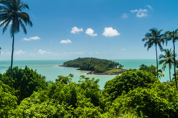 View of Ile du Diable (Devil's Island) from Ile Royale in archipelago of Iles du Salut (Islands of Salvation) in French Guiana