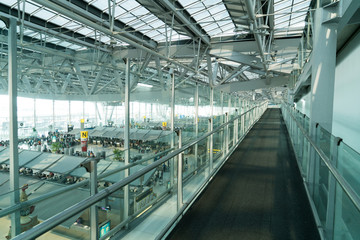 Suvarnabhumi Airport terminal in Bangkok ,Thailand.