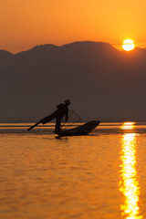 Intha fisherman in Inle village, Myanmar.