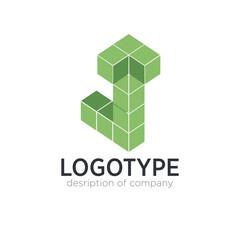 Letter J cube figure logo icon design template elements