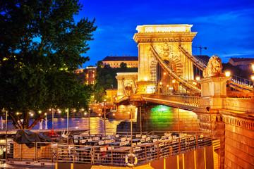 BUDAPEST, HUNGARY-MAY 03, 2016: Szechenyi Chain Bridge view from