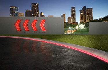 Wall Mural - asphalt road with arrow fluorescent light signs and city skyline background