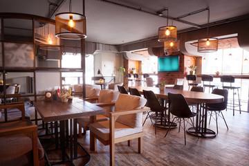 Modern european cafe interior.