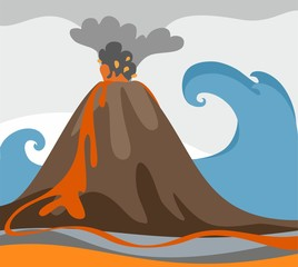 An erupting volcano, tsunami, colored picture, vector.  From a volcano is ash and fiery magma.