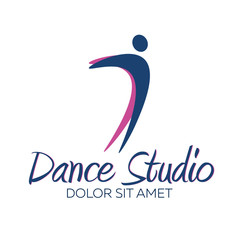 Dance studio logo. Dancer logotype. Vector minimalistic