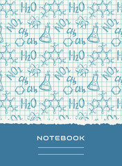 Notebook cover design. Vector chemical background.