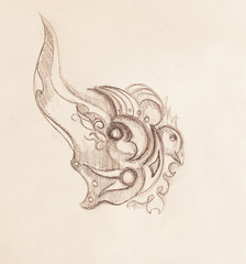 Bird and ornament, original drawing, pencil sketch on paper.