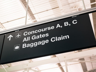 Airport Concourse Gates Baggage Claim Sign