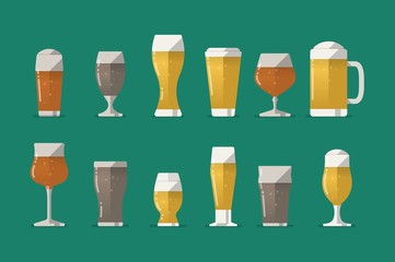 beer glasses set, vector icons