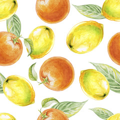 Watercolor seamless pattern of lemon and orange fruits. Vector illustration of citrus fruits. Eco food illustration