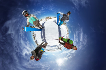 Little planet panorama of group of friends standing around the planet. Sheregesh resort, Siberia, Russia