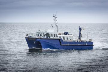 Research ship at sea