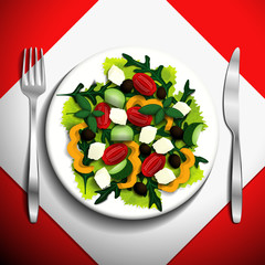 Greek salad with tomatoes, feta cheese, olives, cucumbers, peppers, basil, and arugula on white plate.