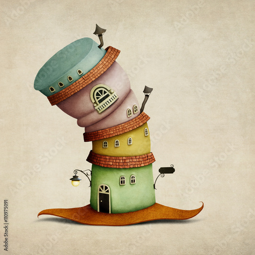 Cheerful color  cartoon  fancy house in  form of  hat