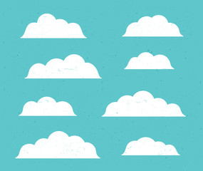 vector flat stile design element set clouds. Abstract background white clouds in blue sky. EPS 10