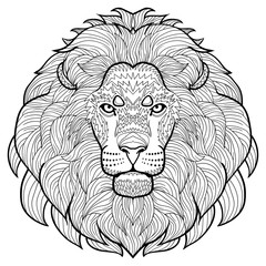 Animal outline drawing. Anti-stress coloring  in the head of a beautiful lion.