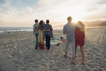 Group of friends standing on beach, hugging, rear view