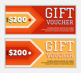 The gift voucher template with elements arrow in fiery red and yellow colors. The modern, colorful design