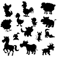 Animals silhouette. Pets