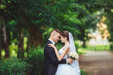 Wedding as a source of satisfaction. Groom and bride together. Bridal couple on wedding day.
