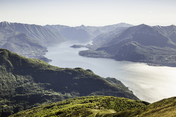 Scenic view with mountains, Lake Como, Italy