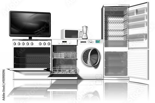 Vari tipi di elettrodomestici con vista frontale 3d - Immagini di elettrodomestici ...