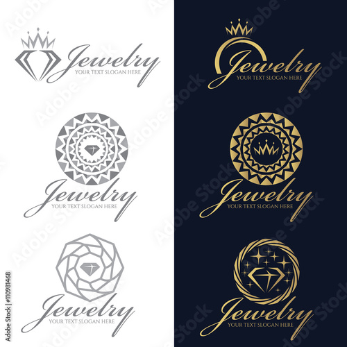 quotgold and gray jewelry logo vector set designquot stock image