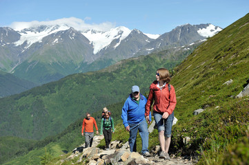 Group of people hiking, North Face Trail, Alyeska Prince Hotel, Alyeska Resort, seven glaciers, Winner Creek Valley, Turnagain Arm, Mt. Alyeska, Girdwood, Alaska, USA