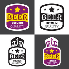 Beer label set. Vector illustration with premium quality sign, stars and crown.