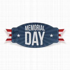 Memorial Day Label with Text and Ribbon