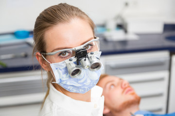Portrait of a dentist with a patient in dentistry