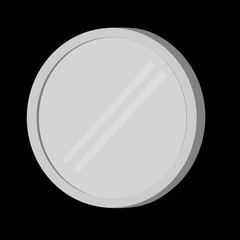 Blank silver Coin, isolated on black
