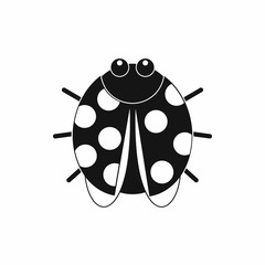 Cute ladybug icon, black simple style