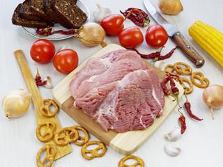 fresh pork steak on wooden Board