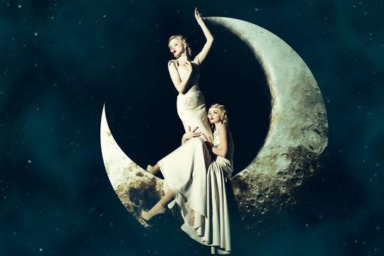 Women in dress on moon