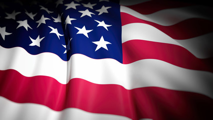 3D rendering of wavy USA  flag, closeup background
