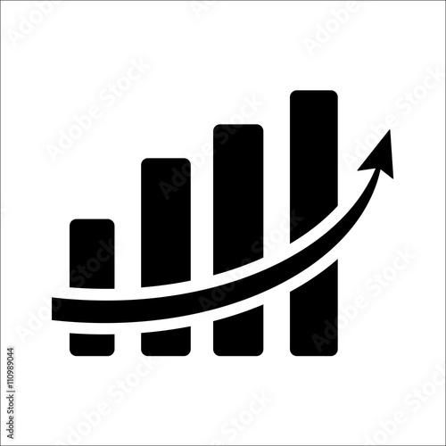 Vertical bar graph, diagram representing growth icon  Vector