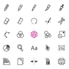 Graphic Design icons with White Background